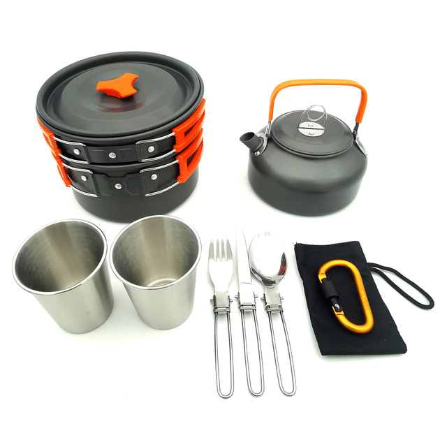 Outdoor Cookware Set Camping Tableware Cooking Carabiner Travel Tableware Cutlery Utensils Hiking Picnic Set Camping Cookware 4