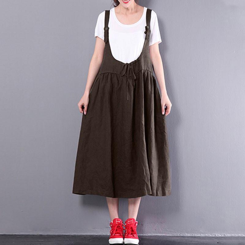 2018 ZANZEA Summer Women Casual Backless Sleeveless Solid Baggy Dungarees Spaghetti Strap Midi Suspense Dress Vestido Plus Size