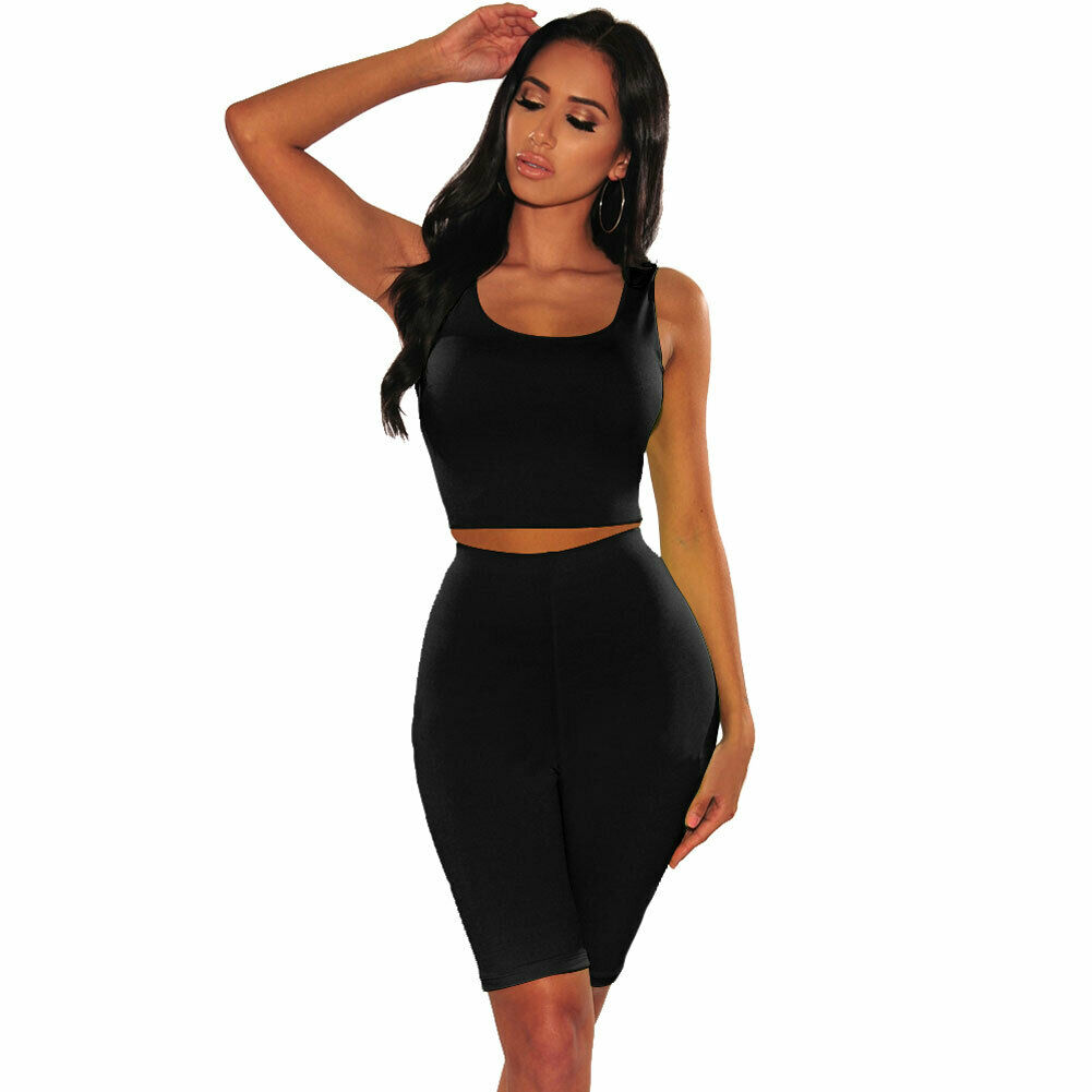 Two Piece Set Women Casual Workout Tank Top+Shorts Outfit Suit Tracksuit Summer Sleeveless 2 Piece Set