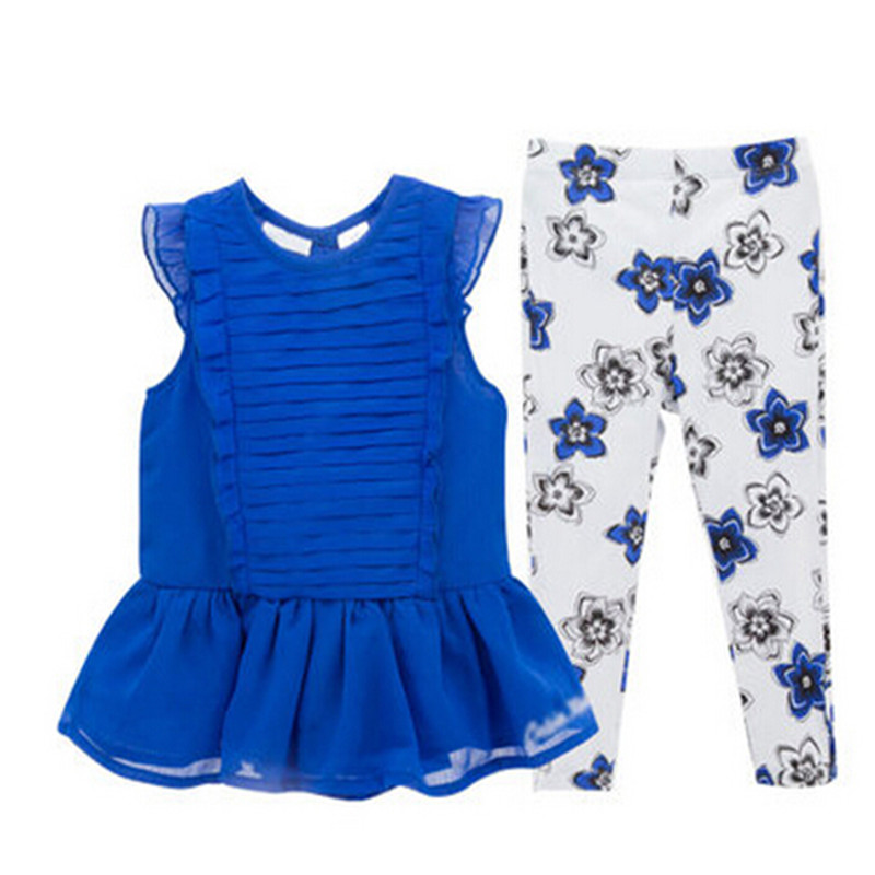 2017 New Brand Baby Girls Clothing Set Girls Dress+Pants 2pcs Suit Children Summer Clothes Kit Soft Top Quality Suit 2018 new girls clothes set summer baby girls clothes vest pants children suit for kids girls clothing suit