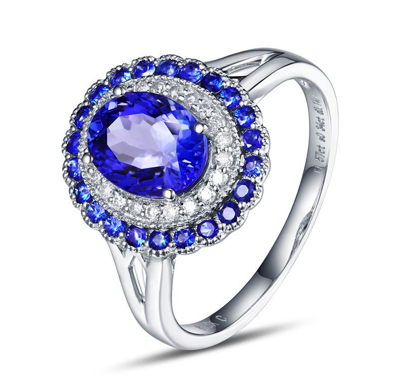 1.57 carat 925 sterling silver tanzanite ring high-end sapphire ring man made diamant wedding ring (CM)1.57 carat 925 sterling silver tanzanite ring high-end sapphire ring man made diamant wedding ring (CM)