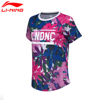 Li Ning Women S Training T Shirt Short Sleeve Printed Breathable Polyester LiNing Sports Tee Tops