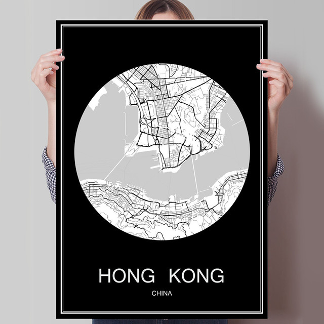 China Karte Hongkong.Us 1 99 Abstrakte World City Karte Hong Kong China Print Plakat Druck Auf Papier Oder Leinwand Wandaufkleber Bar Cafe Wohnzimmer Dekoration In