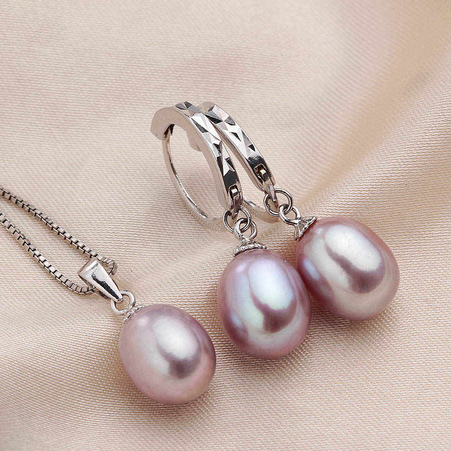100% Natural Freshwater Pearl Jewelry Sets Women Fashion 925 Sterling Silver Wedding Necklace Set Real Pearl 8-9mm Most popular