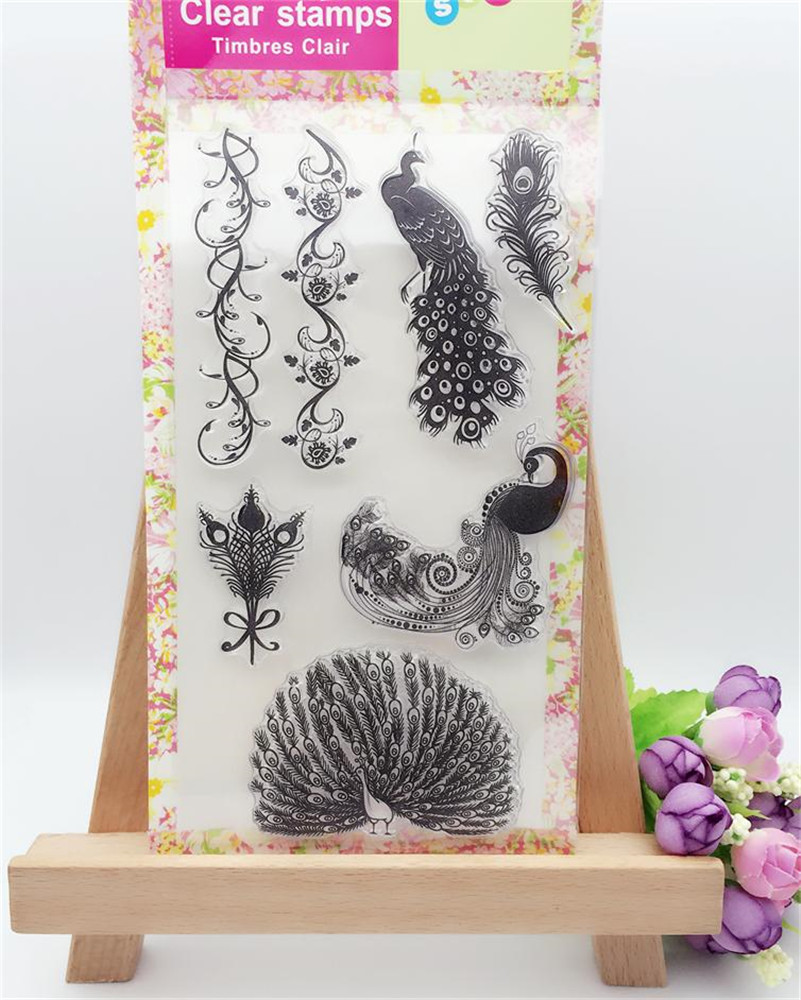 Scrapbook paper clouds - Flower Lace And Peacock Frame Cloud Silicone Transparent Stamp For Diy Scrapbooking Paper Card Decor For