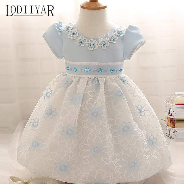 Lace Flowers Baby Girl Dress Girls Clothes Princess Dress Wedding Birthday Party Dress Infant New Year Costume For Kids Pink