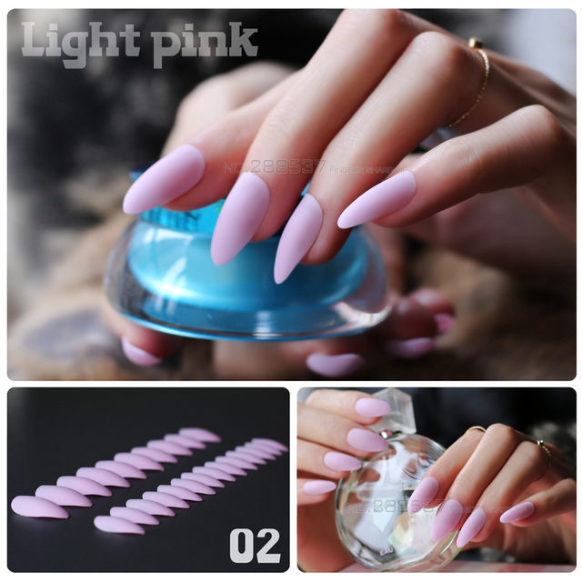 New fashion Pink mountain peak personality Designs Matte False nails 24pcs  Full Nail Tips Girls decorating - Aliexpress.com : Buy New Fashion Pink Mountain Peak Personality