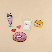 1 piece Fabric Donut Milk ice cream hamburger Heat Transfer Embroidery Clothes Patches Iron On Patch,Appliques For Clothing Back