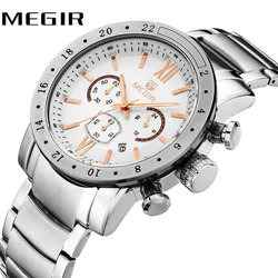 MEGIR Business Fashion Men Quartz Watches Working Small Sub-dials Roman Numerals Stainless Steel Watchband Luminous Wristwatch