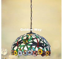 Free Shipping Modern Tiffany Pendant Light Baroque Style Hanging Lamp 12 Inches Stained Glass Suspended Luminaire