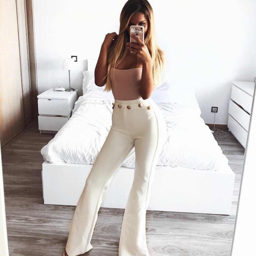 Ocstrade nouveauté 2017 mode pantalon de pansement femmes blanc taille haute rayonne dame pantalon de pansement