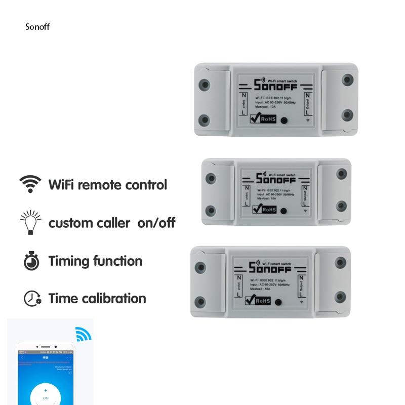 5e6f5e1ac52 3 peças Sonoff Interruptor Wifi Universal Módulo de Automação Residencial  Inteligente Temporizador Interruptor de Controle Remoto Sem Fio Diy Via IOS  ...
