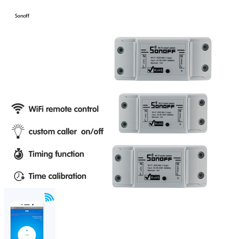 3 pieces Sonoff Wifi Switch Universal Smart Homes
