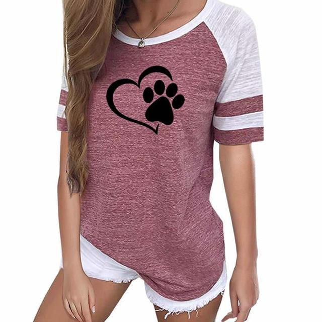 Love Dog Paw Print Top Shirt Women Plus Size Raglan Pink T-shirt
