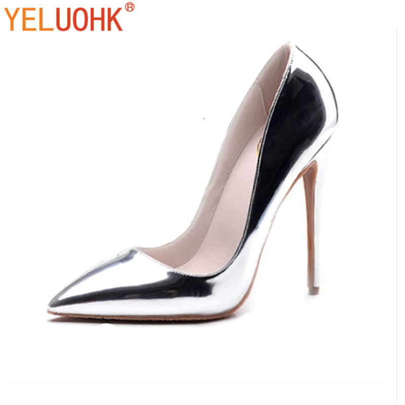 34-43 Extreme High Heels Patent Leather Heel Shoes Women Pumps 12 CM 33 43 2018 spring shoes women heels patent leather shoes heel women high quality women pumps high heels big size 5 5 cm page 3