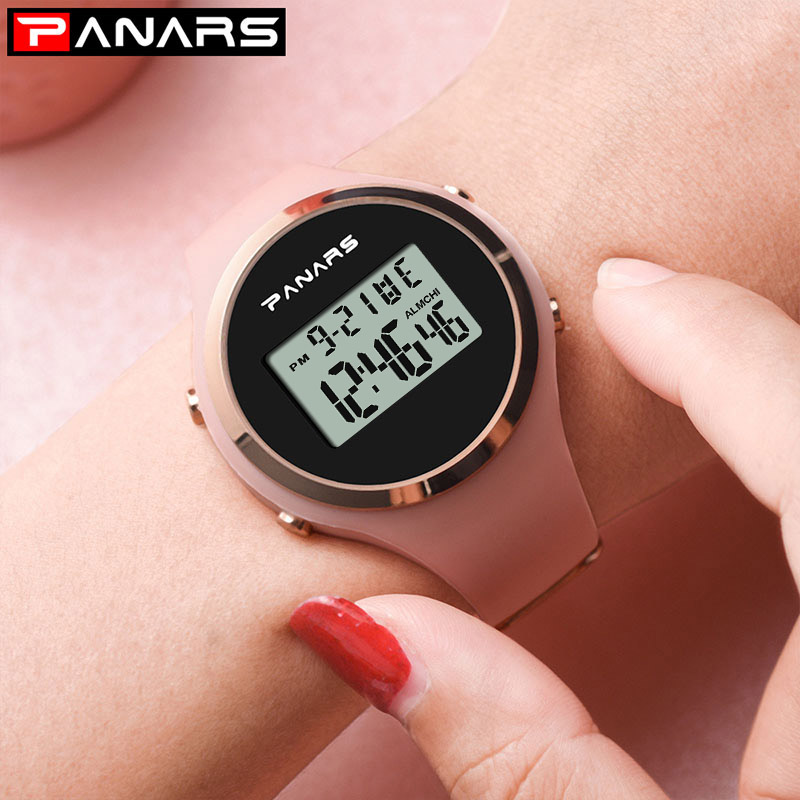 Digital Watch Rubber Fitness Pink Waterproof Electronic Women Relogio For Lady LED 50M
