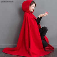 2019 Autumn Winter Womens Capes Red Hooded Poncho Woolen Coats Batwing Long Cloak capas y ponchos damas