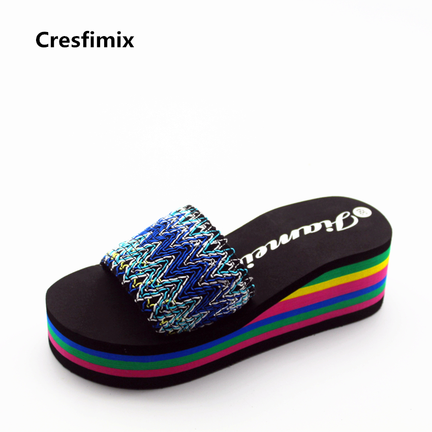 Cresfimix zapatillas women fashion 7cm high heel platform slippers lady spring summer soft slippers ribbon striped slippers cresfimix women fashion