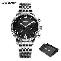 SINOBI New Stainless Steel Men Watch Men Wristwatch Luminous Pointer Watch Luxury Brand Male Sports Geneva Quartz Watches Reloj