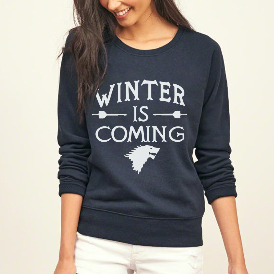 Fashion Game Of Thrones Sweatshirt Winter Is Coming Print Women 2019 O-neck Collar Casual Hoodies Full Sleeve Tracksuit Pullover