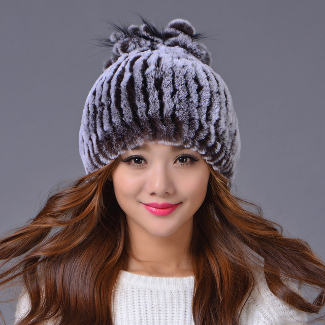 Sale 2017 winter beanies fur hat for women knitted rex Raccoon fur hat with fox fur flower top free size casual women's hat