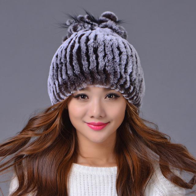 Venda 2017 inverno gorros Guaxinim rex chapéu de pele de malha para mulheres chapéu de pele com pele de raposa flor top tamanho livre das mulheres casuais chapéu