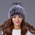 Venta 2017 gorros de invierno sombrero de piel para las mujeres de punto rex Mapache sombrero de piel con piel de zorro tapa de la flor tamaño libre de las mujeres ocasionales sombrero