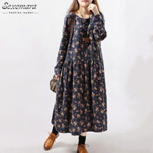 2016 New Style Autumn Winter Women Dresses Vintage Print Casual Long Sleeve Cotton Linen Maxi Dress Swing Floral Big Size Dress