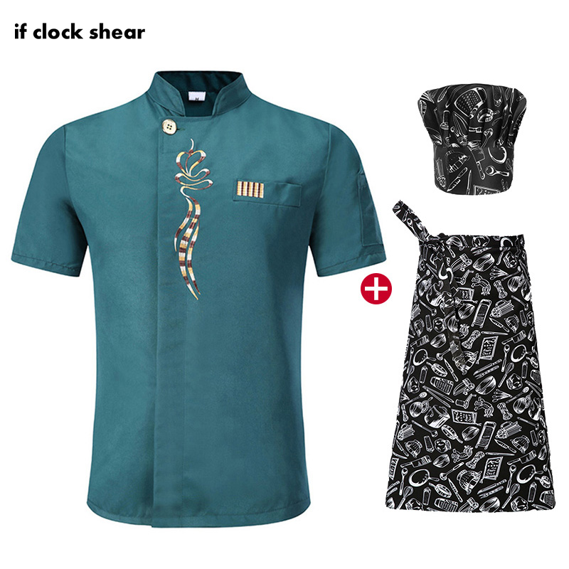 High Quality Hotel Kitchen Chef Clothes Short Sleeved Chef Restaurant Uniform Cooking Shirt Unisex Work Clothes Jacket+Hat+Apron