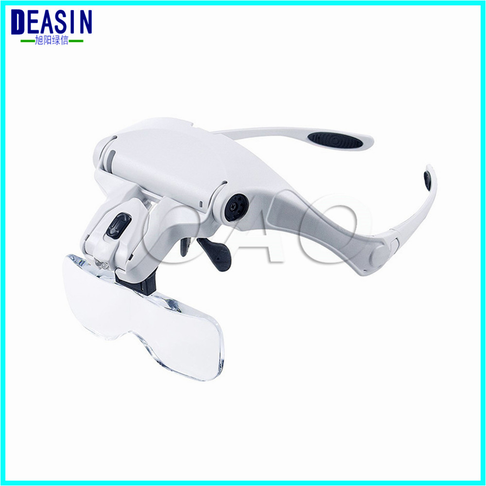 Dental 1Set Head Magnifying Glass Magnifier With 5 Lens And Led Lights For Reading Jewelry Watch repair loupes glass new portable 45x magnifier magnifying glass with light detachable reading engraving jewelry glasses loupes