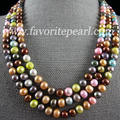Long Pearl Necklace - 64 Inches 8-9mm Multicolor Natural Freshwater Pearl Necklace Fashion Lady's Jewelry Free Shipping