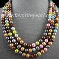 Longo colar de pérolas 64 polegadas 8 - 9 mm Multicolor Natural de água doce pérola colar de jóias frete grátis