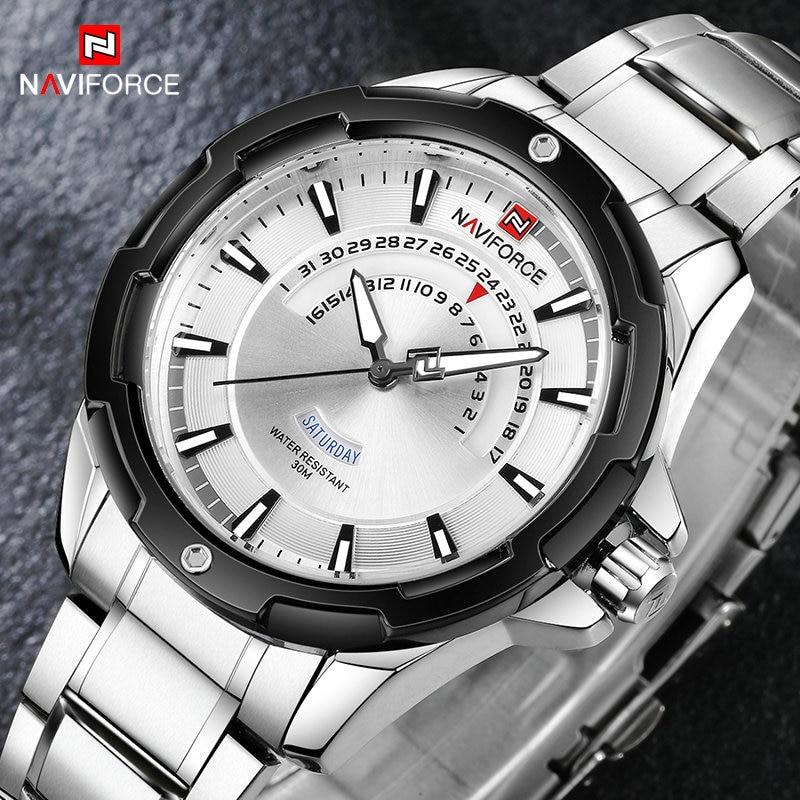 New NAVIFORCE Top Brand Men Watch Fashion Steel Waterproof Sport Watches Mens Silver Analog Quartz Wrist Watch Relogio Masculino цена