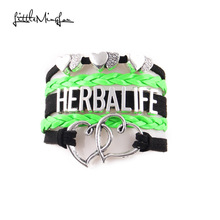 Little MingLou 3 Colors Herbalife Bracelet double heart Charm bracelets & bangles for Women men leather braid hobby jewelry