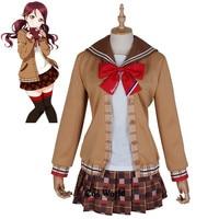 Love Live Sunshine Aqours Sakurauchi Riko Chocolate Valentine's Day School Uniform Sailor Suit Dress Outfit Cosplay Costumes