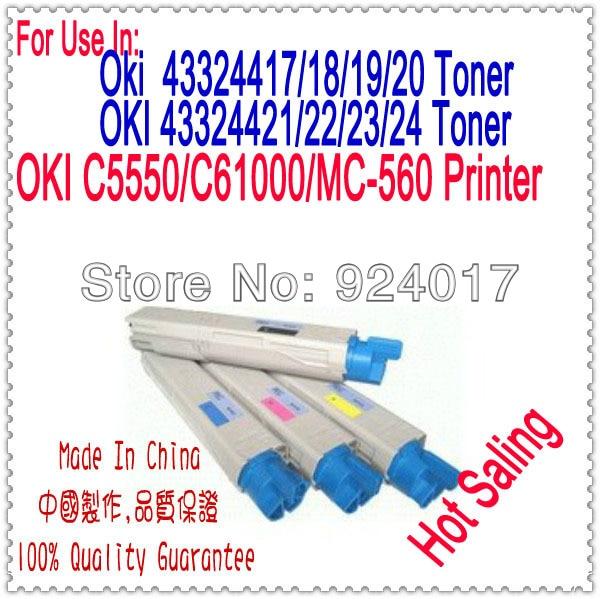 ФОТО For Impressoras Laser Oki C5550 C6100 C6150 MC560 Toner Cartridge.Toner Refill For Okidata 43324417 43324418 43324419 43324420