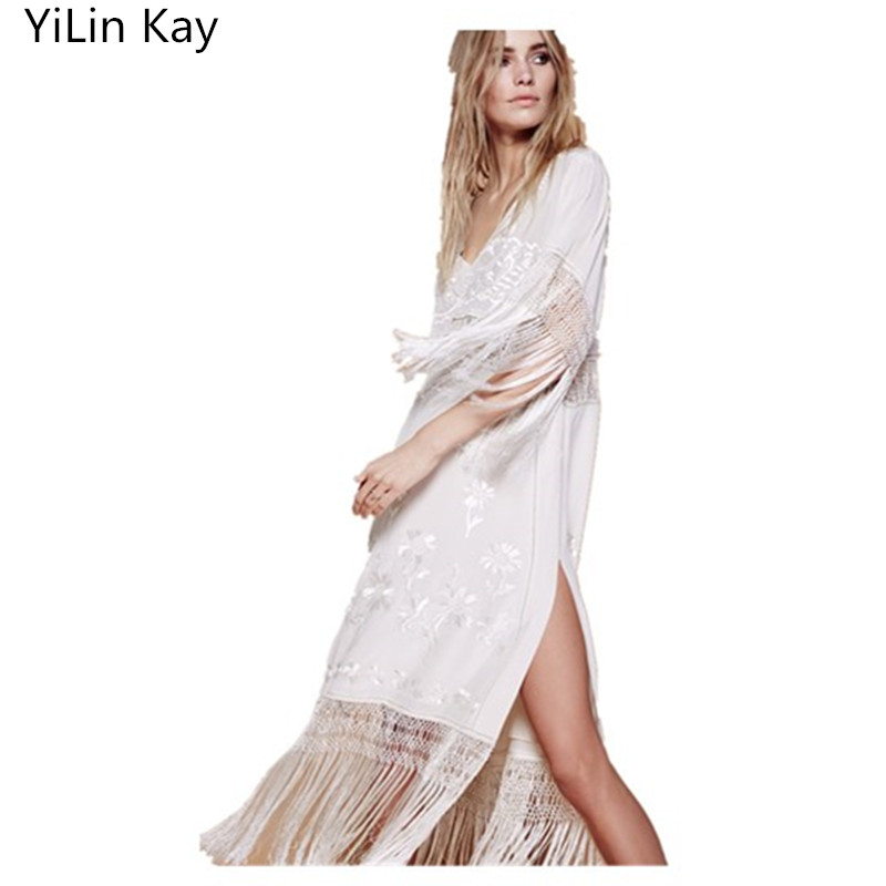 YiLin KayNew Long Tassel Dress For Women Vintage White Embroidered Floral Boho Clothing People Top Tunic Loose Maxi Beach Dress