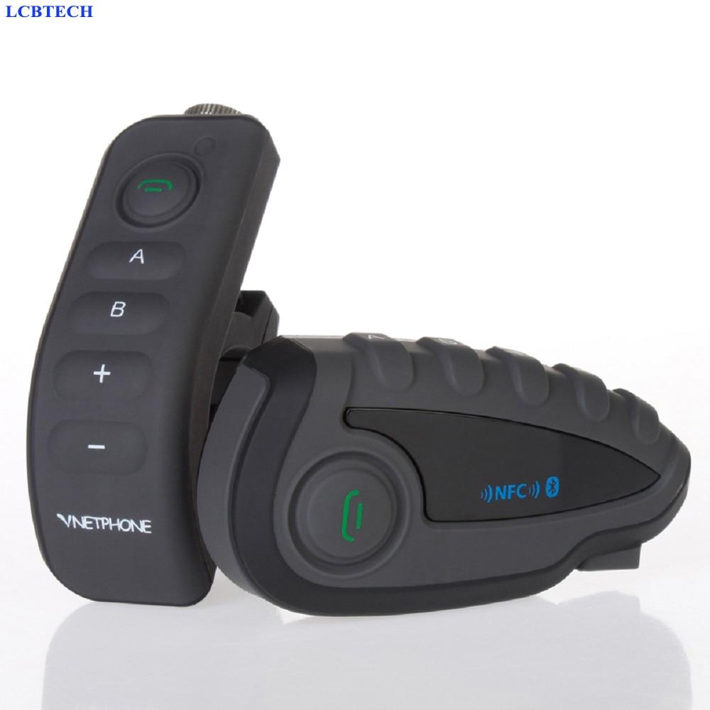 V8 Bluetooth Intercom Motorcycle Helmet Headset NFC Remote Control FM Waterproof 5 Riders Full Duplex Wiresless Intercom 2PCS