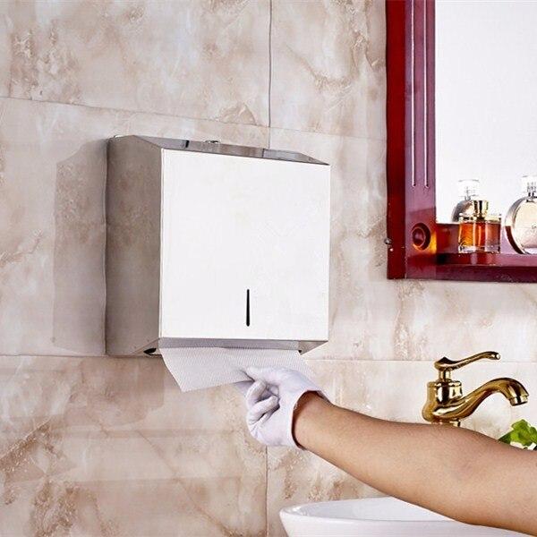 New Stainless Steel Bathroom Hotel Toilet Hand Paper Dispenser Holder Toilet Tissue Paper Box With Lock