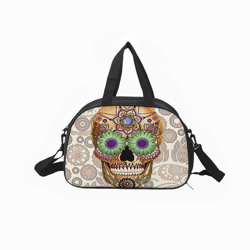 Crowdale na płótnie torba podróżna wielofunkcyjny Hallowmas czaszki stylu torba z nadrukiem pojemność wodoodporne etykiety na walizki torba podróżna 43*30*23 cm