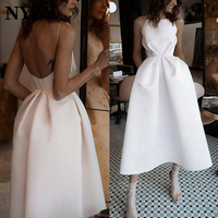 Elegant Tea Length Cocktail Dresses 2019 NYZY C162 A line Low Back Satin Dress Party Homecoming Graduation