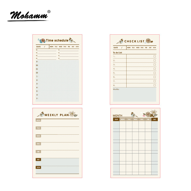 paper diary planner stickers sheet to do list time schedule memo pad