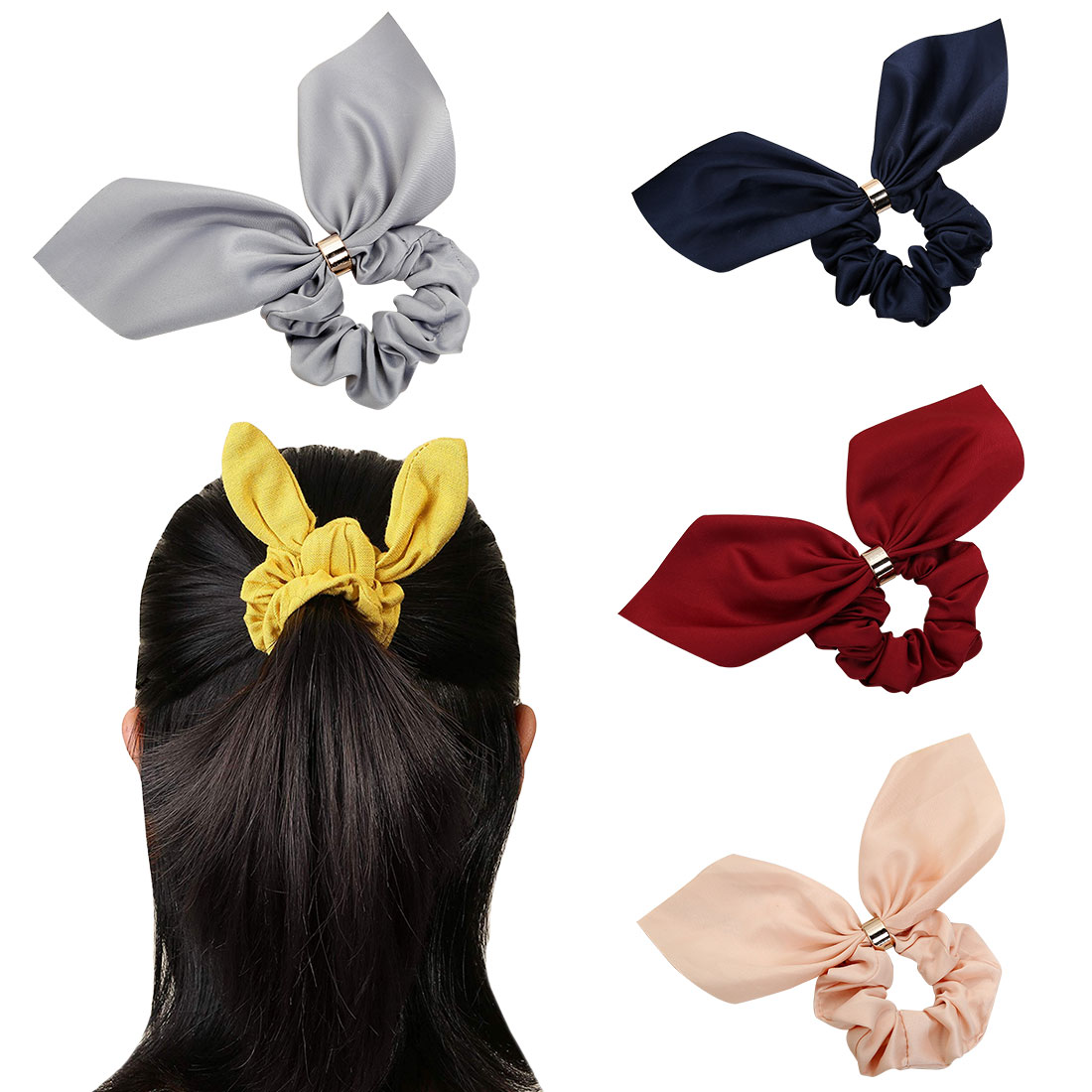 Women Rubber Bands Tiara Satin Ribbon Bow Hair Band Rope Scrunchie Ponytail Holder Elastic Gum for Accessories