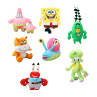 7pcs Set Super Cute Soft Plush Spongebob Patrick Star Squidward Tentacles Mr Krab Sheldon Plankton Gary
