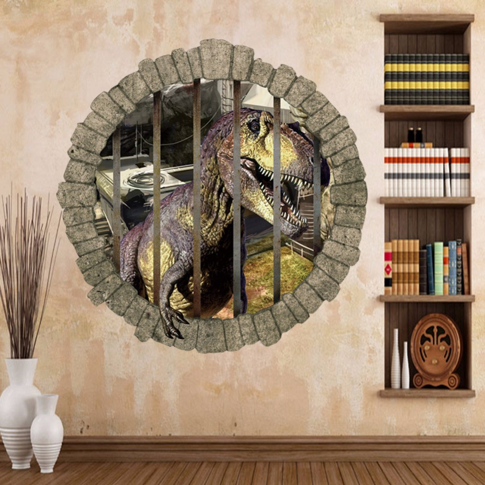 2017 Jurassic Park 3D Through Dinosaur Wall Stickers For