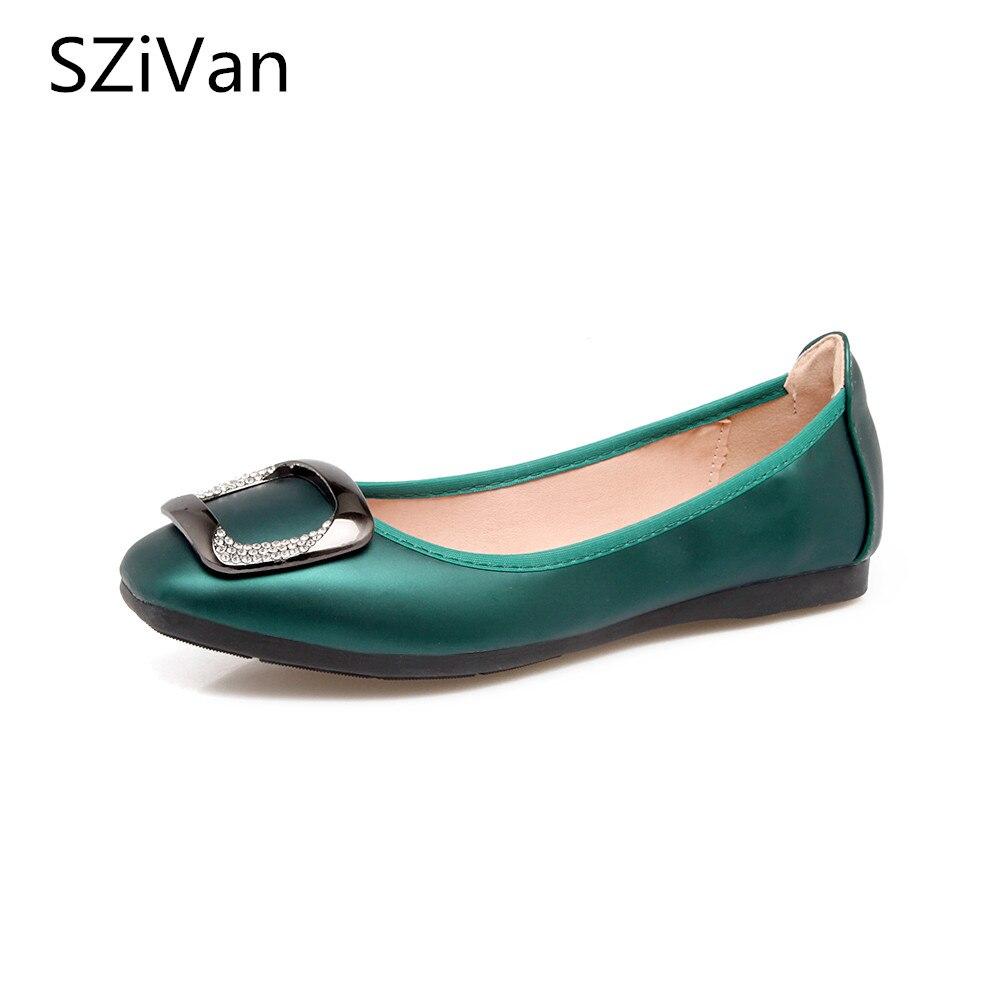 Nouveau femmes carré boucle ballerines chaussure printemps doux sans lacet bout carré pliant strass boucle chaussure grande taille buty damskie