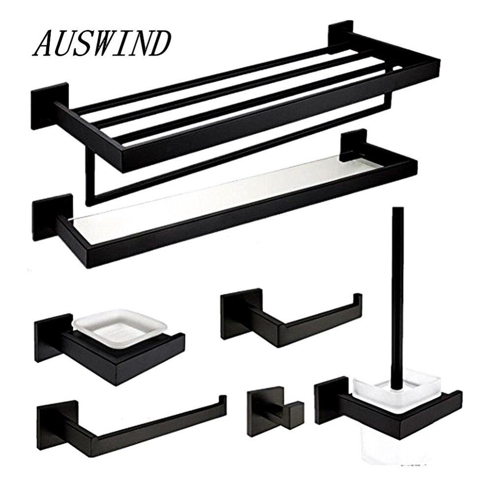 Набор оборудования для ванной AUSWIND Q7K0, квадратное основание из нержавеющей стали 304, черное, масляное, бронзовое, 7 шт.