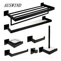 AUSWIND Contemporary Square Base 7 Piece Black Oil Bronze 304 Stainless Steel Bathroom Hardware Set Q7K0