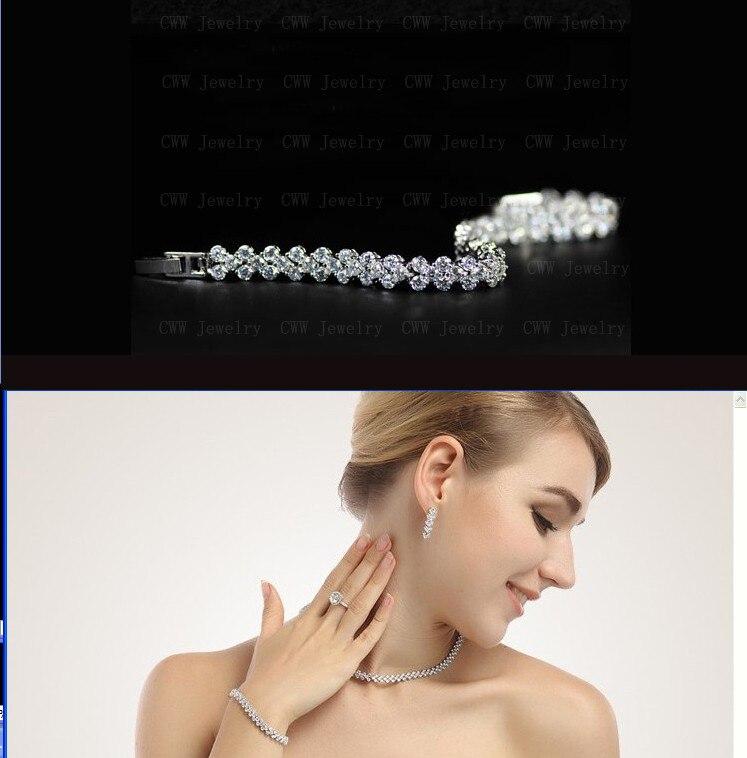 CWWZircons haute qualité AAA + zircon cubique collier Bracelet boucles d'oreilles ensemble de bijoux pour dames Costume bijoux T028 - 3