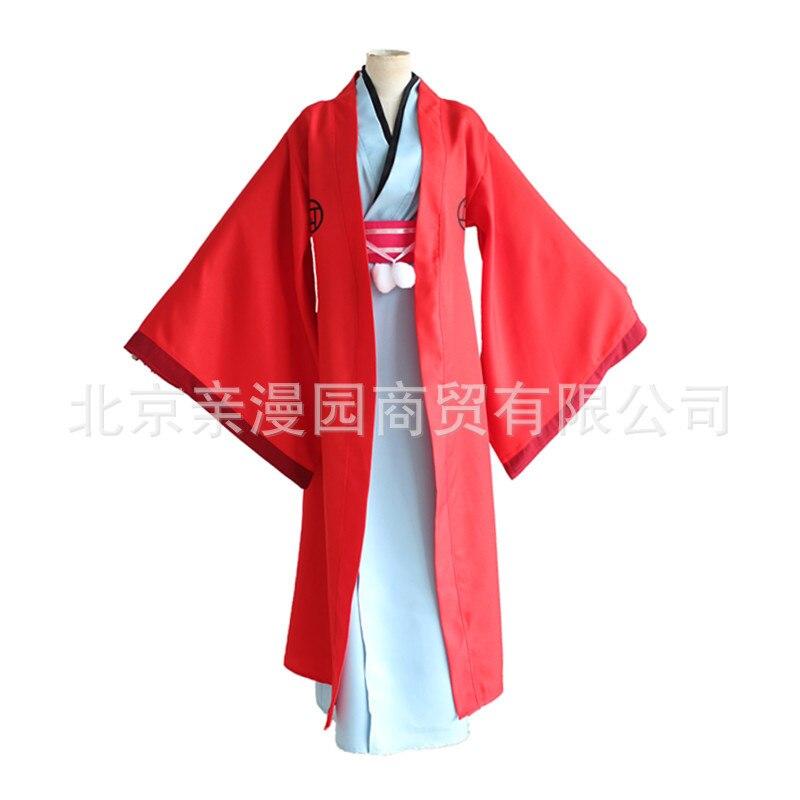 Fukigen Na Mononkean The Morose Mononokean Haruitsuki Abeno Red Cape Kimono Set Cosplay Costume Halloween Party Wear Costume Set
